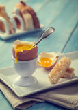 Boiled Egg With Spoon Stock Photography