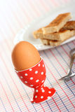 Boiled egg in a spotted eggcup Royalty Free Stock Images