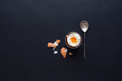 Boiled Egg Support Teaspoon Shell Top View Vintage Stock Photography