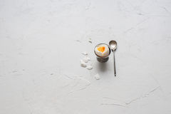 Boiled Egg Support Teaspoon Shell Top View Vintage Stock Photo