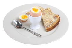 Boiled Egg & Toast Stock Photo