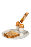 Boiled Egg and Toast Fingers stock images