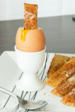 Boiled egg and toast soldiers Royalty Free Stock Image