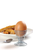 Boiled egg with toasted soldiers Royalty Free Stock Photos