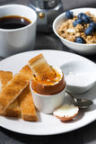 Boiled egg, toasts and coffee for breakfast, closeup vertical Royalty Free Stock Images