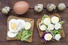 Boiled egg toasts Royalty Free Stock Image