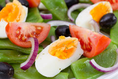 Boiled egg, tomato, green beans Stock Images