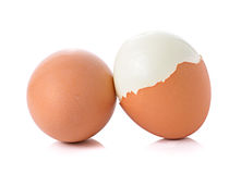 Boiled egg  on white background Stock Photos