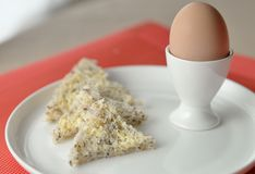 Boiled Egg With Wholegrain Bread. Stock Photo