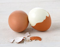 Boiled egg on wooden Royalty Free Stock Photos