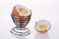 Boiled eggs. Boiled egg with the top cut off royalty free stock photos