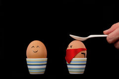 Boiled Eggs. The picture shows an egg which is attacked by another one royalty free stock photography