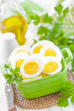Boiled eggs. Fresh sliced boiled eggs in a bowl Stock Photography