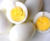 Boiled eggs. Closeup shot of boiled eggs with yolk Royalty Free Stock Images