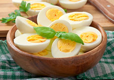 Boiled eggs in a bowl Stock Photo