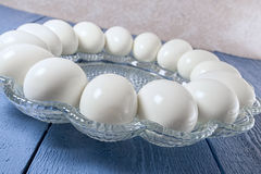 Boiled eggs,bowl,table Stock Photo