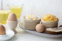 Boiled eggs with bread Stock Image