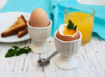 Boiled eggs for breakfast Royalty Free Stock Photos