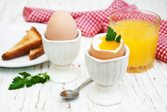 Boiled eggs for breakfast Royalty Free Stock Photography