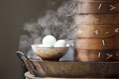 Boiled eggs breakfast in the street, China Stock Photo