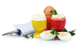 Boiled eggs in bright stands and cutlery Stock Images