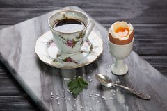 Boiled eggs and coffee Royalty Free Stock Images