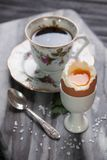Boiled eggs and coffee Stock Image