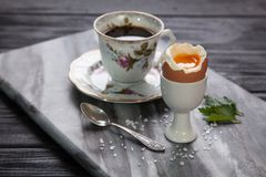 Boiled eggs and coffee Royalty Free Stock Photo