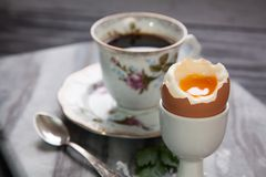 Boiled eggs and coffee Royalty Free Stock Photos