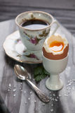 Boiled eggs and coffee Stock Photos