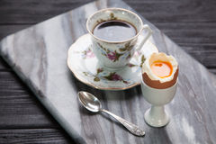 Boiled eggs and coffee Stock Photography