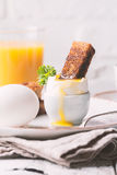 Boiled eggs and crispy toasts Stock Image