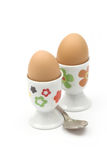 Boiled eggs in cups Stock Image