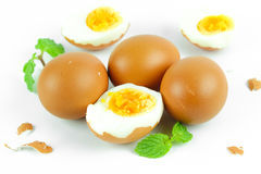 Boiled eggs cut in half Stock Photo