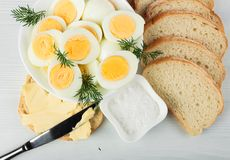 Boiled eggs with dill . Royalty Free Stock Photos