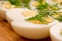 Boiled eggs with dill Royalty Free Stock Image