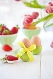 Boiled eggs for easter breakfast Stock Images
