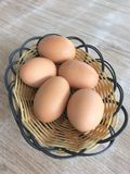 Boiled eggs. Boiled egg in the basket Stock Photography
