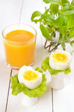 Boiled eggs in egg cups Royalty Free Stock Photos