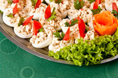 Boiled eggs with fish cream topping Royalty Free Stock Photos