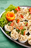 Boiled eggs with fish cream topping royalty free stock photography