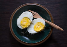 Boiled eggs on green plate. Boiled eggs on a green plate with fork Stock Photography
