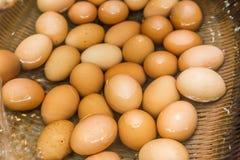 Boiled eggs from hot spring water in Kurokawa onsen, Japan.  Royalty Free Stock Photography