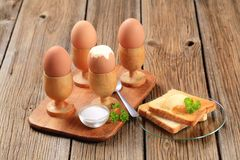 Boiled eggs i. N wooden eggcups with toast Stock Photography