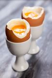 Boiled eggs on marble background Royalty Free Stock Images