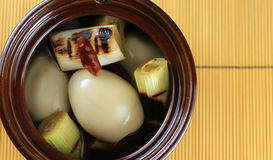 Boiled eggs. Marinated with soy based dipping source with grilled green onion Stock Images
