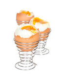 Boiled eggs in metal stands Stock Images