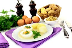 Boiled eggs with mustard potatoes Stock Photos