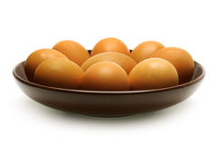 Boiled eggs on a plate Stock Images