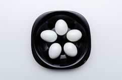 Boiled eggs on the plate Royalty Free Stock Photography